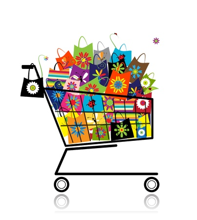 Supermarket cart with shopping bags for your design Vector