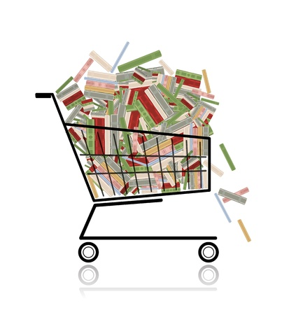 sales book: Pile of books in shopping cart for your design
