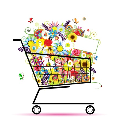holiday shopping: Floral bouquet in shopping cart for your design