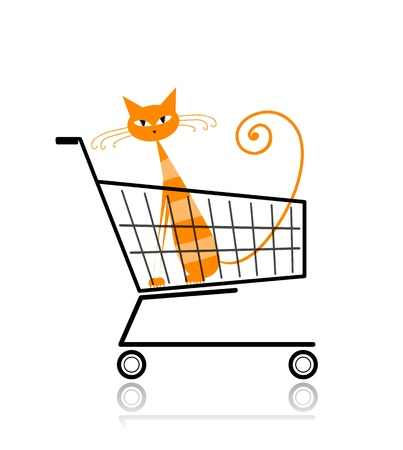 Cute cat in shopping cart for your design Vector
