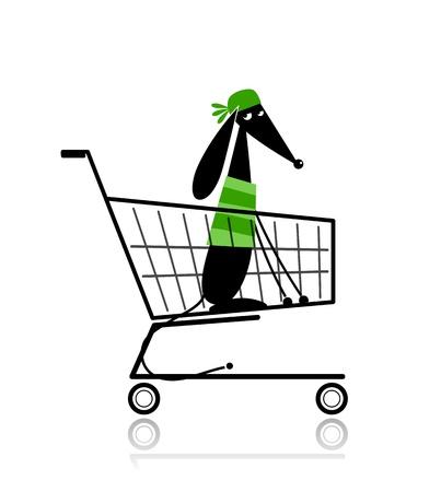 supermarket shopping cart: Lindo perro en el carrito de la compra para su dise�o Vectores