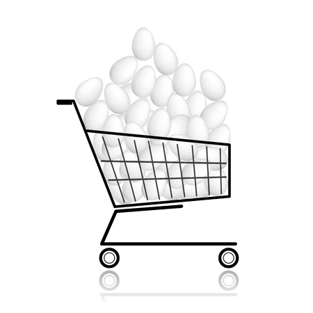 Pile of eggs in shopping cart for your design Stock Vector - 12840570