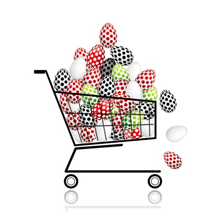 Pile of eggs in shopping cart for your design Vector