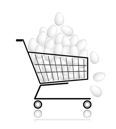 Pile of eggs in shopping cart for your design Stock Vector - 12840571