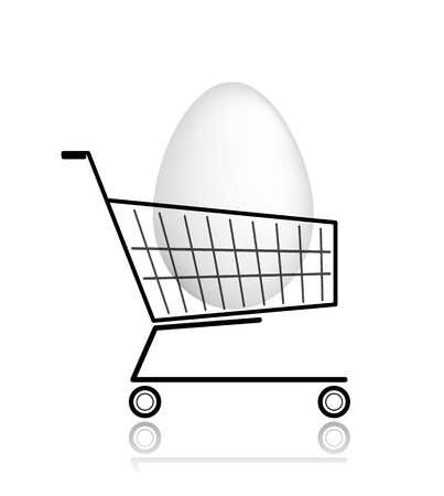 Easter egg  in shopping cart for your design Stock Vector - 12840553