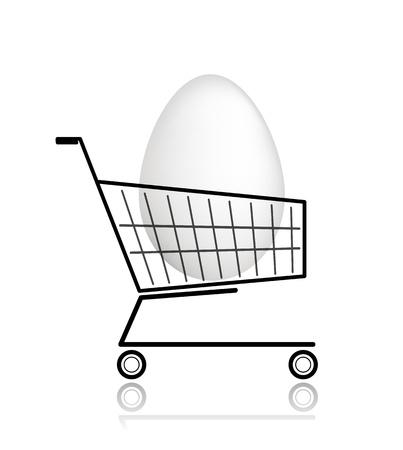 Easter egg  in shopping cart for your design Stock Vector - 12840553