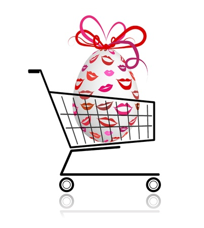 Easter egg  in shopping cart for your design Vector