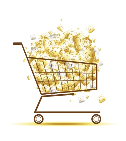 Pile of euro coins in shopping cart for your design Stock Vector - 12840581