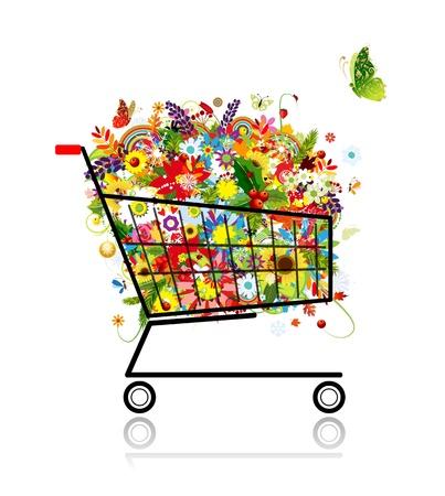 supermarket shopping cart: Ramo de flores en la cesta de la compra para su dise�o