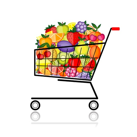 push cart: Fruits in shopping cart for your design Illustration