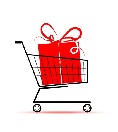 red retail: Gift box in shopping cart for your design
