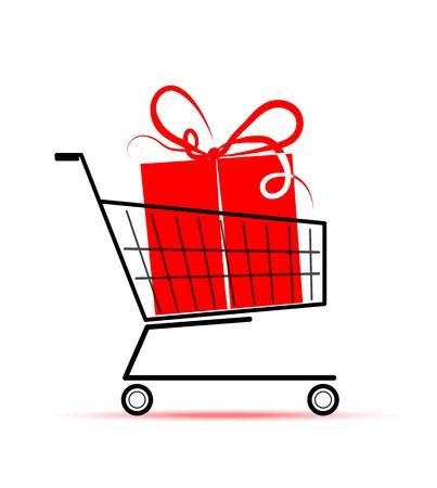 kerst markt: Gift box in wagen voor uw ontwerp