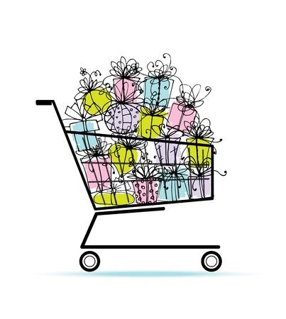 giftbasket: Geschenkdozen in wagen voor uw ontwerp Stock Illustratie