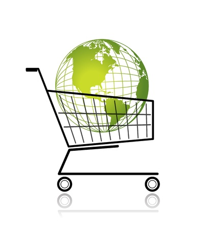 Green globe in shopping cart for your design Stock Vector - 12840565