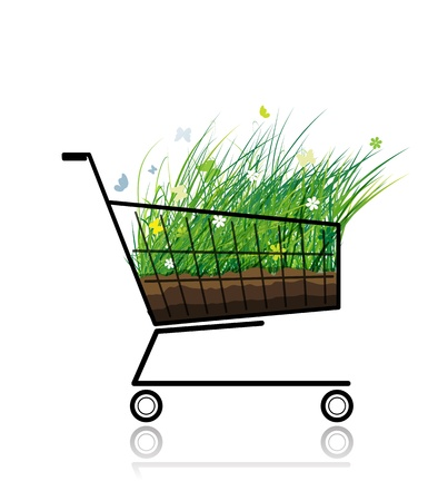 push cart: Spring grass in shopping cart for your design Illustration