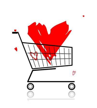 Big red heart in shopping cart for your design Stock Vector - 12840548