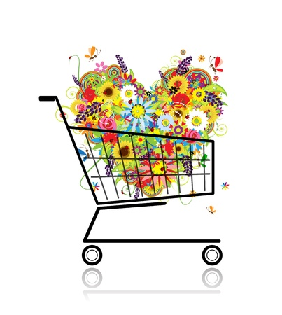 Floral heart in shopping cart for your design Vector