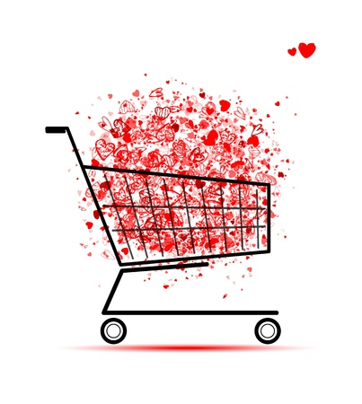 red retail: Cloud of hearts  in shopping cart for your design