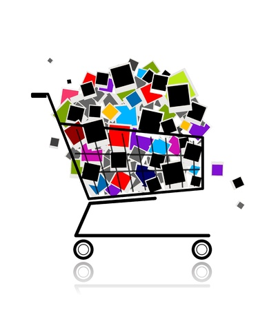 Pile of photos in shopping cart for your design Vector