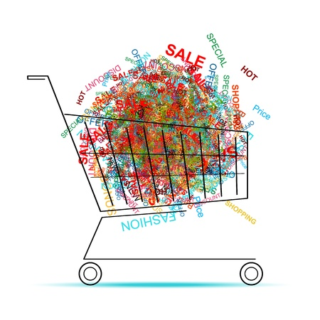cartoon words: Shopping words in cart for your design