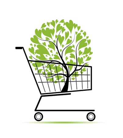 push cart: Green tree in shopping cart for your design