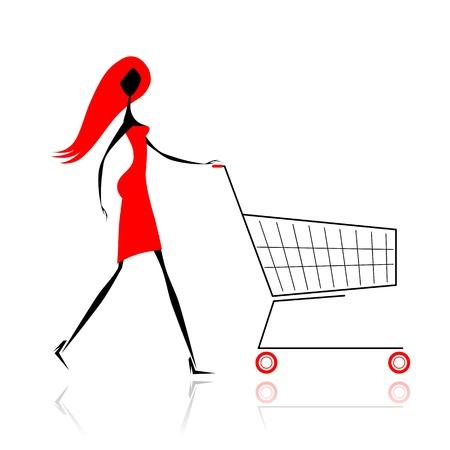 mujer en el supermercado: Mujer con cesta de la compra para su diseño Vectores