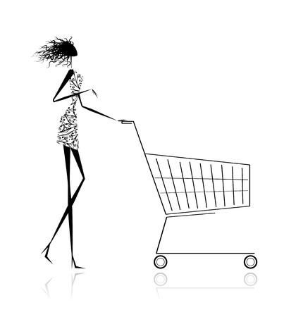 hand cart: Mujer con cesta de la compra para su dise�o Vectores