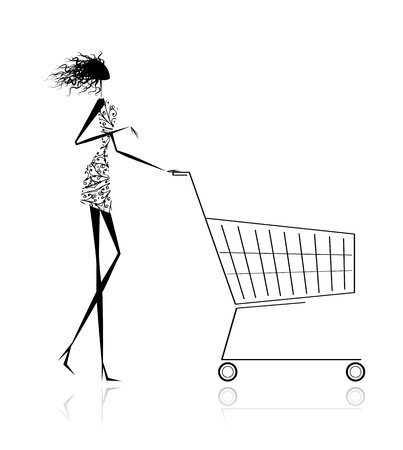 hand baskets: Woman with shopping cart for your design