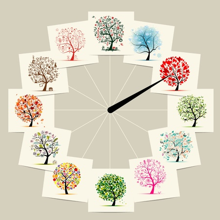 månader: 12 månader med konst träd, klockor konceptdesign