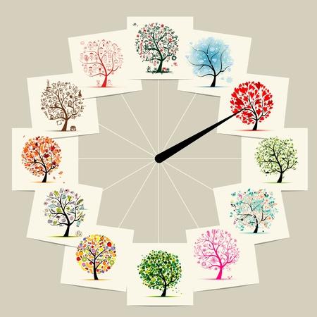 12 Monate mit der Kunst Bäume, Uhren Konzeption Vektorgrafik