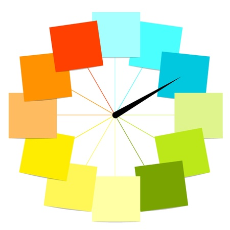 green face: Creative clock design with stickers for your text