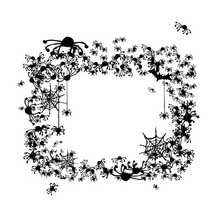 tarantula: Halloween frame made from spiders and bats