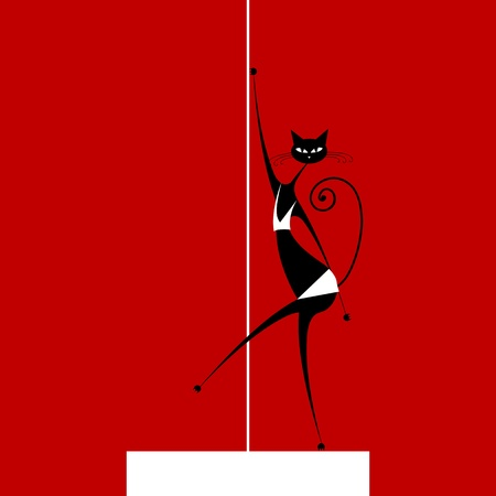 Graceful cat dancing, vector illustration for your design Vector