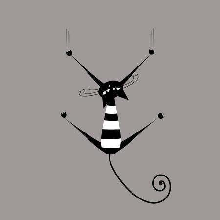 bigodes: Funny striped cat for your design