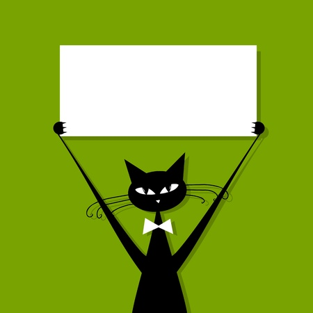 cat: Funny cat with business card, place for your text