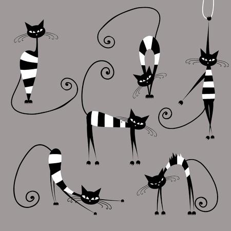 silhouette gatto: Divertenti gatti a strisce, la raccolta per la progettazione Vettoriali
