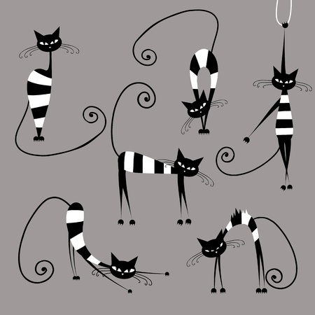 gray cat: Funny striped cats, collection for your design