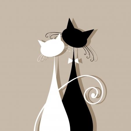 Echtpaar katten samen, silhouette voor uw ontwerp