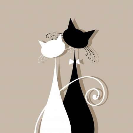 cat drawing: Gatos pareja juntos, silueta para su dise�o