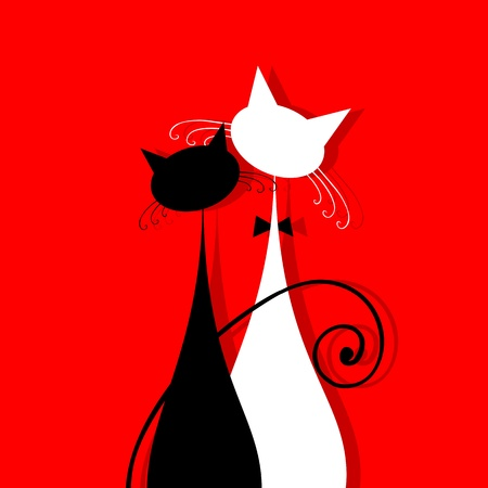 black and red cat: Couple cats together, silhouette for your design