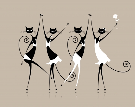 Graceful cats dancing, illustration for your design Vector