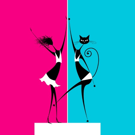 Catwoman dancing on scene Vector
