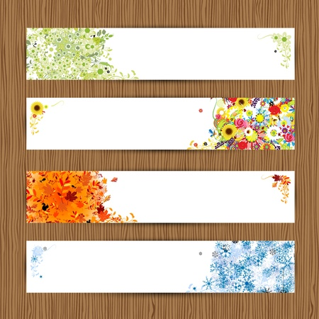 winter forest: Four seasons - spring, summer, autumn, winter  Banners with place for your text