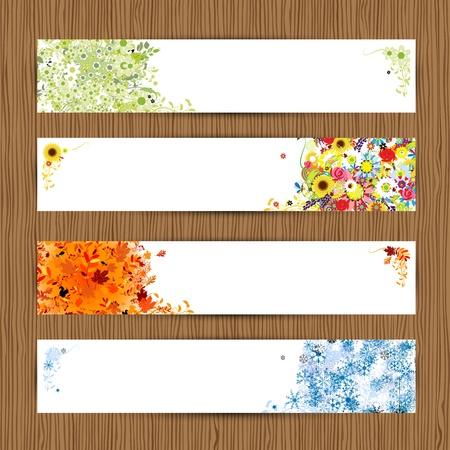 herbstblumen: Vier Jahreszeiten - Fr�hling, Sommer, Herbst, Winter Banner mit Platz f�r Ihren Text