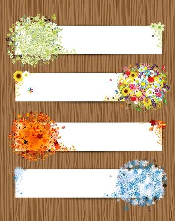 Quatre saisons - printemps, été, automne, hiver Bannières avec la place pour votre texte Vecteurs