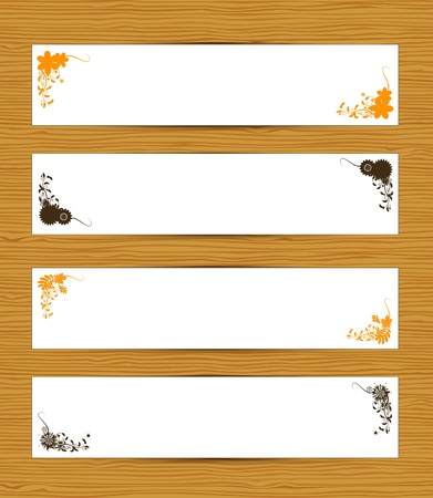Abstract banners on wooden background Vector