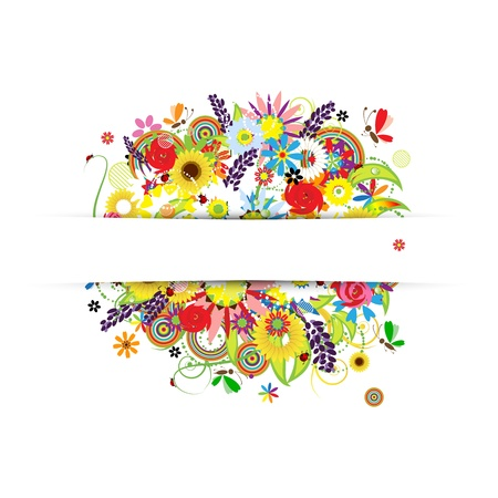 Gift card design with summer floral bouquet Vector