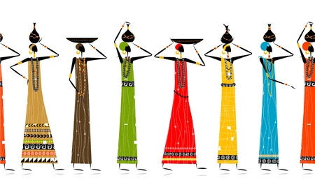 indian summer: Ethnic women with jugs, seamless background for your design