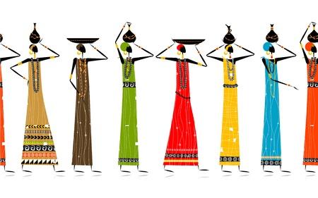 fille indienne: Les femmes ethniques avec des cruches, fond transparent pour la conception de votre Illustration