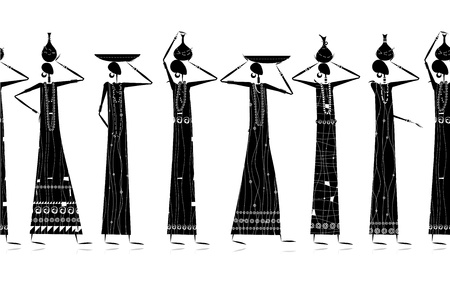 african culture: Ethnic women with jugs, seamless background for your design